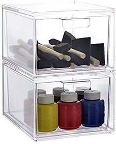 Amazon.com: Stackable Clear Plastic Craft and Office Organizer Drawers | 2-pack