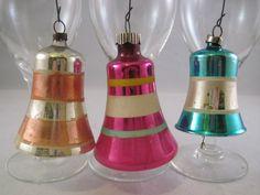 Vtg Antique Shiny Brite Mercury Art Glass Bell Feather Tree Xmas Ornaments Pink