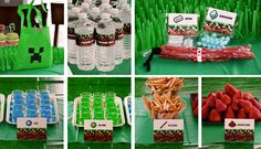 Love these! Minecraft-themed goodie bag treats and party snacks