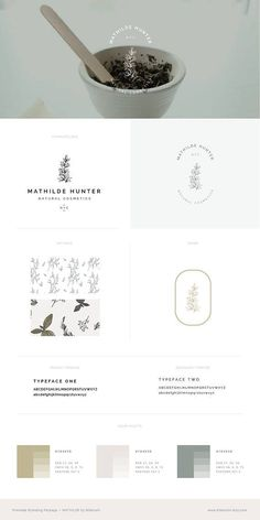 Premade Brand Kit, soft modern, natural, organic, green tan cream off white leaves Branding Kit, Brand Identity, Branding Design, Visual Identity, Corporate Design, Logo Creator, Logo Template, Rustic Logo, Logos