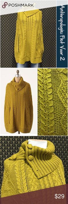 "Anthro ""Cabled Cocoon Poncho"" by Fiets Voor 2 Labelled a small/medium.  Cotton/nylon/wool blend.  Buttons at the collar, two arm slits in the front.  Great condition.  Mustard color.      ☘️Prices are firm and quite reasonable 🍀Smoke Free Home 🍀Bundles Welcome but please keep them under 10 items (5lbs) 🍀Kitty friendly household 🚫No Trades 🚫No Offers 🚫No PayPal or Off-Site Transactions Anthropologie Sweaters Shrugs & Ponchos"