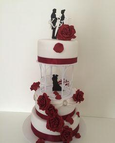 Made by Pattycake Wedding Cake with red Roses!!