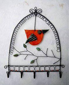 vandalka... / Vešiak s vtáčikom Wire Work, Wire Art