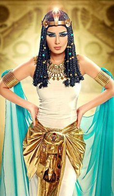 Cleopatra costume dress, could attach shawl to bracelets Egyptian Eye Makeup, Egyptian Party, Egyptian Costume, Carnival Costumes, Cool Costumes, Halloween Costumes, Mummy Costumes, Woman Costumes, Mermaid Costumes