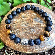 Mens bracelet natural bead bracelet lava bead by QuintaraDesigns