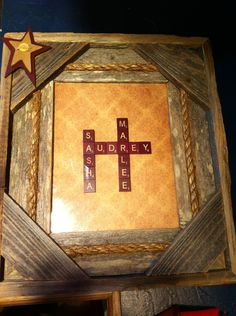 Gift for grandparents. Barn wood frame with primitive accents. Names are vintage scrabble pieces.