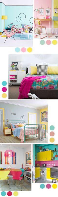 Uma decoração Tricolor que vai deixar sua casa uma graça! Turquesa, rosa e amarelo são tonalidades conhecidas pelo ar feminino e infantil que trazem para a decoração.Quando combinadas, deixam qualquer ambiente mais alto-astral, charmoso, romântico e gracioso! Separamos 6 combinações dessas cores para você se inspirar. Aproveite: Fontesimagens: 1 234…