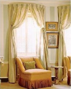 Beautiful Window Covering for Rooms with Tall Ceilings - wonder if this would cover up the half-moon window also? Tall Window Treatments, Window Coverings, Decorating Your Home, Interior Decorating, Decorating Ideas, Louvered Shutters, Shower Curtain Rods, Drapes Curtains, Valances