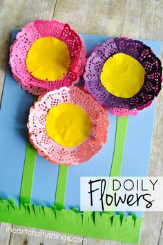 These colorful paper doily flowers are simple to make and the end result is stunning. It's also a great craft for little ones to work on scissor skills.