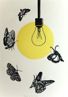 Moth lino print on paper 'Drawn to the Light' series, 2019 Glass Painting Designs, Paint Designs, Art Sketches, Art Drawings, Linocut Prints, Art Prints, Moth Drawing, Ems Tattoos, Emperor Moth