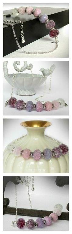 Ombre glass necklace ...Handcrafted lampwork beads are highly textured with tiny bits of clear glass on the surface, like little ice crystals.