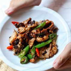 Quick and easy pork slice stir-fried with black bean sauce Chinese Bbq Pork, Asian Pork, Chinese Food, Chinese Meals, Chinese Recipes, Asian Stir Fry, Pork Stir Fry, Bean Recipes, Pork Recipes
