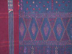 Vintage Batak Ulos. Cotton with bead accents. Sumatra