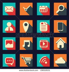 Graphic user interface vector illustration with various icons in modern flat design suitable for web design, tablet, smartphone user interfa...