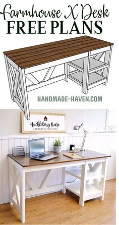 Diy Desk Discover Farmhouse X Office Desk DIY Farmhouse Desk plans that will make your home office pop! Need an office farmhouse desk to spice up the home office? Look no more! These DIY Desk Plans will make your office come to life. Diy Office Desk, Diy Desk, Home Office, Diy Wood Desk, Diy Chair, Small Office, Craft Room Desk, Diy Computer Desk, Office Paint