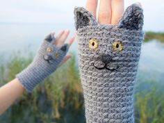 CAT FINGERLESS GLOVES Chartreux  Free Shipping Worldwide от Pomber