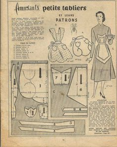 Couture patron vintage Retro Apron Patterns, Vintage Apron Pattern, Vintage Sewing Patterns, Stephane Rolland, Modern Aprons, Couture Vintage, Patron Vintage, Apron Designs, Dress Designs