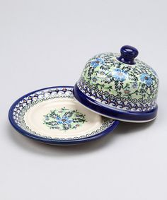 Take a look at this Blue & Yellow Floral Cheese & Butter Dish by Lidia's Polish Pottery on #zulily today!