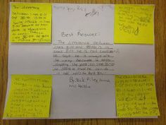 Group Work Strategy: Each student writes their own answer on a post-it; they bring the answers together and write a group answer in the center.