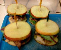 """LOVE the idea of using """"cracker thin"""" apple slices in place of bread for a paleo-worthy sandwich! I piled on rosemary chicken, leafy greens, a small piece of a bacon, and avocado. Use small apples, as shown here,  for appetizers (or """"sliders""""). YUM!    http://paleohacks.com/questions/9397/anyone-got-some-good-ideas-for-packed-lunches"""