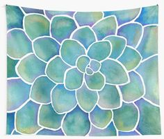 Succulent Wall Tapestry | Succulent Pattern | Blue Green Tapestries | Watercolor Tapestry | Laurav-Design