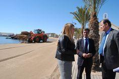 Las obras de emergencia para regenerar las playas de Mazarrón terminarán antes de final de mes