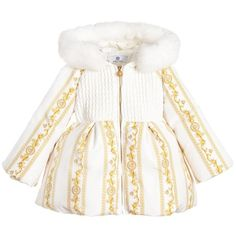 Young Versace - Baby Girls Ivory 'Cornici' Down Padded Coat
