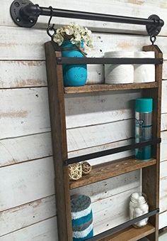 Farmhouse Storage Ideas, bathroom ladder shelf   DuctTapeAndDenim.com