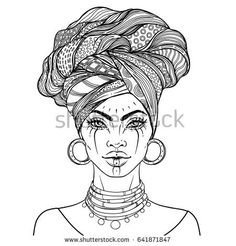 Vector Illustration of Black Woman with glossy lip… African American pretty girl. Vector Illustration of Black Woman with glossy lips and turban. Great for avatars. Illustration isolated on white. Coloring book for adults. Tattoo Girls, Girl Tattoos, Woman Tattoos, Tribal Tattoos, Afro Tattoo, Body Art Tattoos, Voodoo Tattoo, Small Tattoos, Black Girl Art