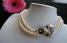 2 strand Swarovski Pearl Necklace with Side Accent piece. Swarovski Pearls, Handmade Jewellery, Accent Pieces, Pearl Necklace, Glitter, Jewelry, Fashion, String Of Pearls, Jewellery Making