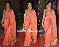Deepika Padukone sizzles in JADE's ombre sari at Ahana Deol's wedding reception. #JADE #JADEbyMK #DeepikaPadukone
