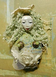 Goddess of Healing Adornments in a Miniature Spirit Doll Brooch in Sage Green and Lace Cloth and Clay Art Doll