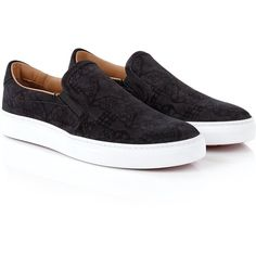 Vivienne Westwood Slip On Trainers (155 CHF) ❤ liked on Polyvore featuring shoes, sneakers, sapatos, slip on, tenis, black, slip-on shoes, pull on sneakers, leopard print slip-on sneakers and vivienne westwood shoes