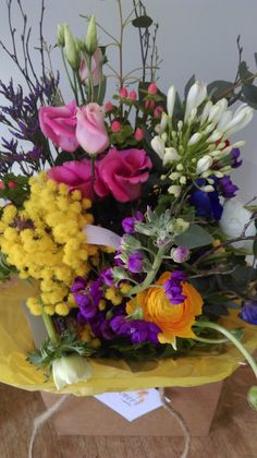 Mothers Day bouquet-  Agapanthus, Acacia, Ranunculus, Matthiola, Ranunculus Mother's Day Bouquet, Agapanthus, Ranunculus, Acacia, Spring Flowers, Mothers, Floral Wreath, Wreaths, Plants