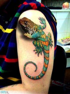 Colorful Lizard in 3D Arm Tattoo  - http://tattootodesign.com/colorful-lizard-in-3d-arm-tattoo/  |  #Tattoo, #Tattooed, #Tattoos