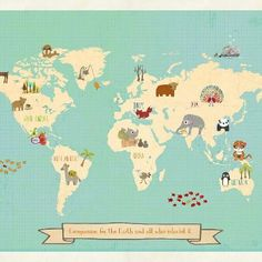 Global Compassion 24x18 Childrens Map Print by ChildrenInspire, $40.00.  Just in case you need a gift idea...for me.