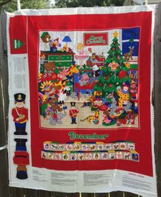 Christmas Fabric Panel Christmas Blanket Advent Calendar Wall Hanging Quilt Sewing Material New