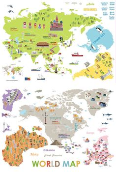 Illustrated World Map Removable Wall Decal by FunDesignFair
