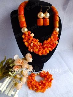Free ship! #272 New Design Flower Coral jewelry set necklace bracelet and earrings for African wedding party bridal dressing $63.10