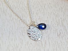 Silver Disc Pendant with Sapphire Crystal Hammered by ESBeadworks
