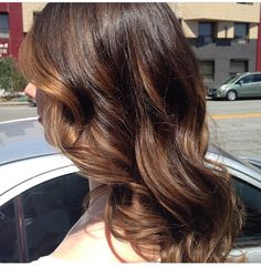 Brunette balayage by Bella Salon of Naples in Long Beach, Ca. Baliage, balyage, hairstyle, hair, gorgeous hair, greathair, blowout, blowdry, waves, stunning hair.