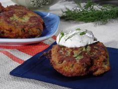 Get Zucchini Cakes with Herb Sour Cream Recipe from Food Network