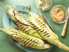 Perfectly Grilled Corn on the Cob recipe from Bobby Flay via Food Network with BBQ Butter & Herb Butter Corn Recipes, Vegetable Recipes, Recipies, Vegetable Medley, Easy Recipes, Best Corn Recipe, Food Network Recipes, Food Processor Recipes, Grilling Recipes