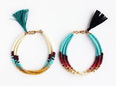 Beaded Friendship Bracelet with Tassel Turquoise by feltlikepaper