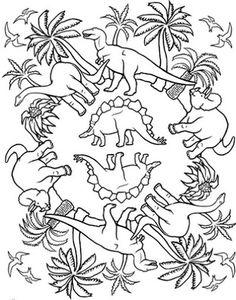 Dinosaur Mandala Printable Coloring Page
