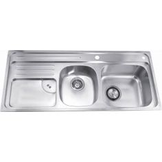 Everhard 1380mm NuGleam Double Bowl Kitchen Sink with Double ...