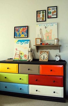 If you Don't Want To Paint Your Wall(s) in Fun Colors (for example; because You want to Keep Them as Basic Color for Your Room), Paint your Furniture Instead!  I like this style, great for a cool boysroom :-D