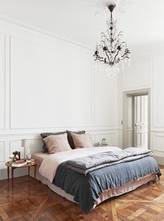Interiors | Stunning Parisian Apartment. Dusty pink, grey and dark blue