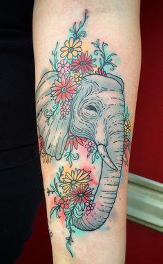 Watercolor Elephant  Tattoo by Dinonemec.com