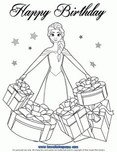 Elsa And Birthday Cake Coloring Page Disney Frozen